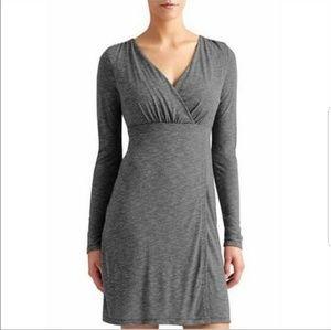 Athleta Heather Grey Wrap Around Long Sleeve Dress